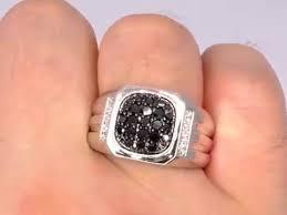 ring for men 14k gold white and black diamond ring for men 1 carat ring