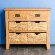 Oak Console Table With Drawers Surrey Oak Console Table With Baskets U2013 Roseland Furniture
