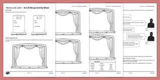 and juliet act iii activity sheet worksheet