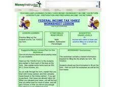 income tax form 1040ez lesson plans u0026 worksheets reviewed by teachers