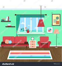 Livingroom Cartoon Living Room Interior Stock Vector 396028909 Shutterstock