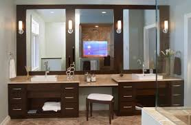 Modern Bathroom Vanity Lighting Brown Wooden Vanity Combined Three Wall Mirror And Wall