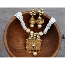 gold set antique gold pendant set with moti bead mala