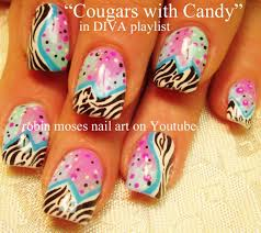 zebra print with candy color polka dot nail design tutorial youtube