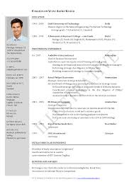 Sample Cv Resume Format 9 Best Images Of Resume Curriculum Vitae Template Sample Cv