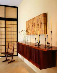 Decorating A Credenza Mid Century Credenza Entry Asian With Candle Candle Holder Console