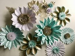 Flower Backdrop Pearl And Aquamarine Giant Paper Flower Backdrop Wall Decoration