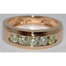 Mens Gold Diamond Wedding Rings by Wedding Ring 14k Rose Gold 1 2ct Round Mens Band 8mm Black Hills Gold