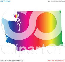 Map Of United States Vector by Clipart Of A Gradient Rainbow Map Of Washington United States Of