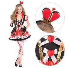 teen girls fairytale queen of hearts fancy dress costume book week