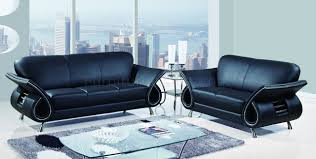 u559 living room sofa set in black leather by global