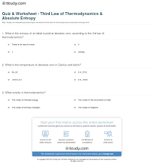 quiz u0026 worksheet third law of thermodynamics u0026 absolute entropy
