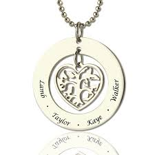 Engravable Heart Necklace Heart Family Tree Necklace Sterling Silver