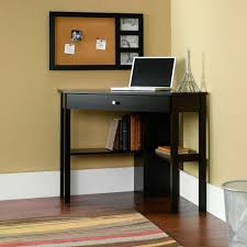 Brown Corner Desk Furniture Neutral Home Office Decoration With White Wall Also