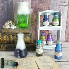 diy magic potion bottles for halloween using a vintage spice rack