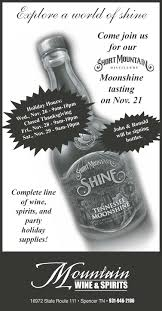 wine and spirits thanksgiving hours moonshine tasting today at mountain wine and spirits