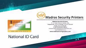 national id card printing madrassecurityprinters