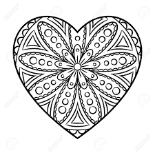 doodle heart mandala coloring page outline floral design element