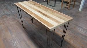 steel and wood table reclaimed wood table reclaimed wood desk mixed wood steel legs hairpins