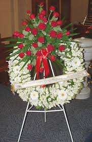funeral ribbon tributes 7 wreath with a spray and ribbon