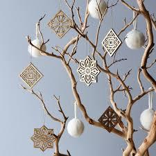 laser cut maple mosaic ornaments set of 6 on food52