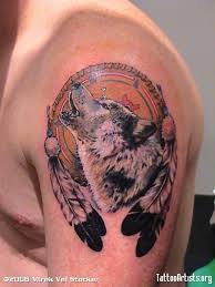perfect wolf dream catcher tattoo on shoulder for boys picsmine