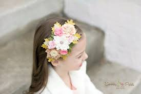 felt headbands felt flower headband pink ivory gold baby womens