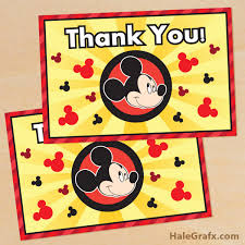 mickey mouse thank you cards printable mickey mouse thank you card