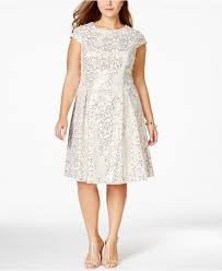 calvin klein plus size sequined flare dress in white lyst