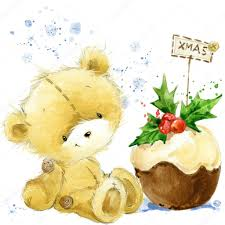 New Year Invitation Card Cute Bear Christmas Card With Cute Teddy Bear Watercolor Teddy