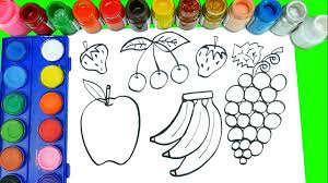 how to draw fruits and veggies coloring pages learn fruits