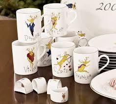 reindeer dinnerware set of 4 pottery barn