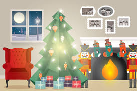 At Home Christmas Trees by Christmas Tree At Home Vector Illustrations Creative Market