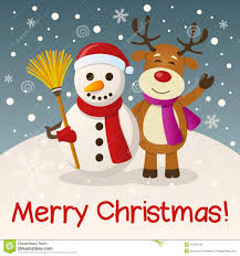 christmas snowman u0026 reindeer stock vector image 47562708