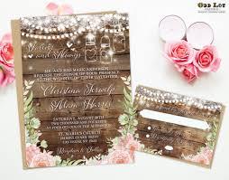 bohemian wedding invitations boho wedding invites floral wedding invitation rustic wood