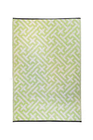 Green Outdoor Rug Linear Pattern Reversible Outdoor Rug