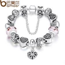 bracelet for bamoer top sell european charm bracelet for women with heart