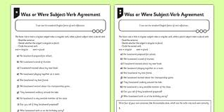 was or were subject verb agreement differentiated activity sheet