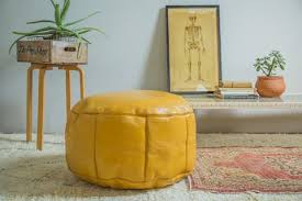 Mustard Yellow Ottoman Leather Pouf Ottomans