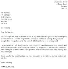 merchandiser resignation letter example toresign com