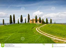 rural house with cypress trees around tuscany italy stock photo