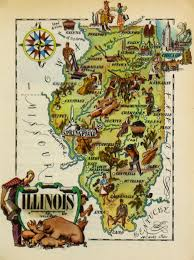Map Of Illinois by Illinois Pictorial Map 1946