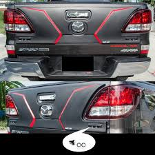 pro mazda led rear tailgate outer lid cover matte black 1 pc fit mazda bt 50