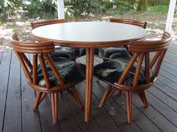 kitchen table with swivel chairs vintage mid century modern vogue rattan round table 4 swivel