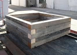 reclaimed wood raised bed garden planters custom by rushton llc