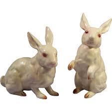 vintage rabbit vintage pair of vintage lefton white rabbit figurines h880 ruth s