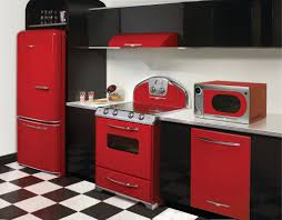 modern kitchen design with red kitchen stove appliances black