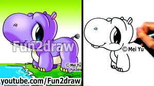 fun2draw thanksgiving how to draw a cute cartoon baby hippo drawing videos