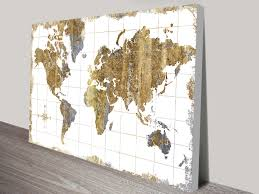 World Map Canvas Gold U0026 Blue Gilded World Map Canvas Print Painting