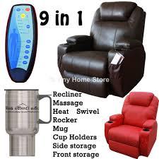 luxury leather cinema recliner chair sofa w massage rocker